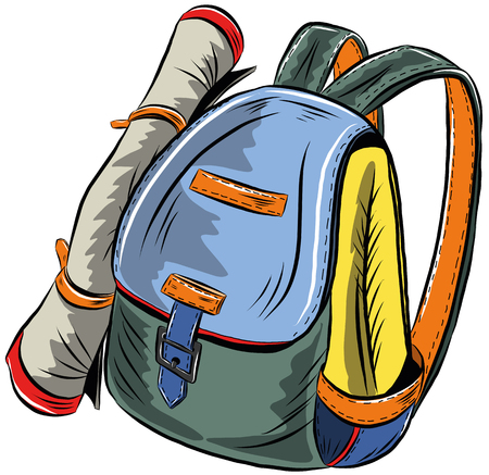 Beautiful tourist backpack on a white background, illustration Illustration