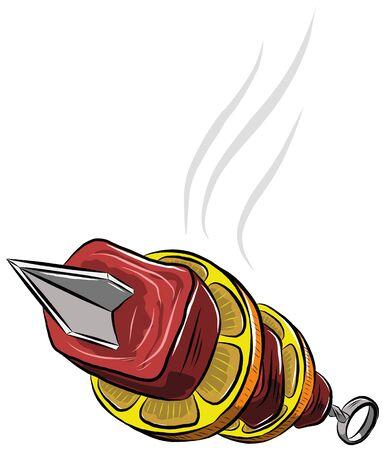 Delicious hot shish kebab on skewer, vector illustration Illustration