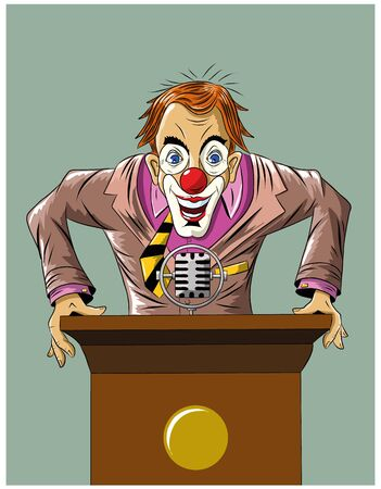 frenzy: Funny crazy clown stands for the podium, illustration