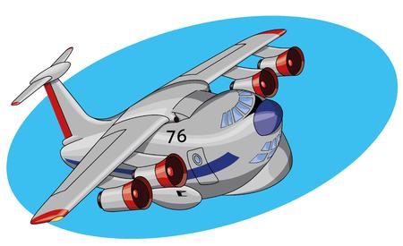 Beautiful cartoon jet plane vector illustration