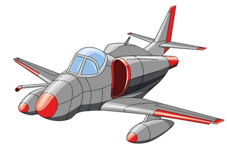 Old military aircraft on white background, vector illustration Illustration