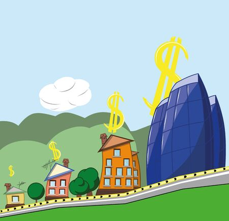 The concept of growth in housing prices, vector illustration