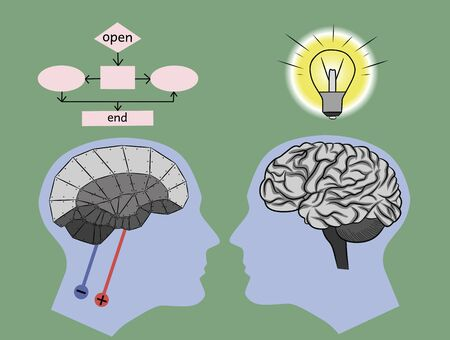 Concept of difference of the human brain from artificial intelligence, vector illustration