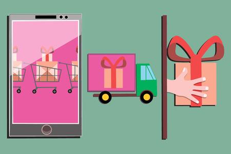 Concept van winkelen voor goederen online met behulp van uw telefoon vectorillustratie