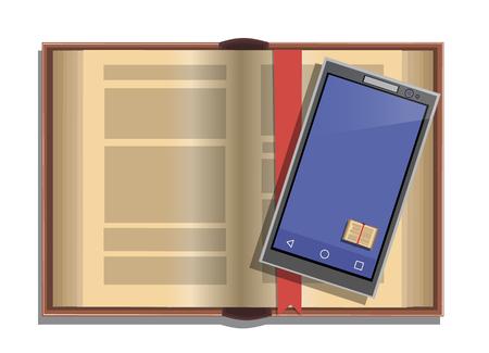 Open boek en telefoon met de app voor het lezen, vector illustratie