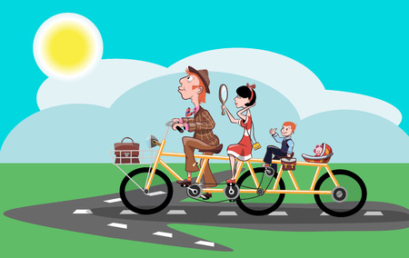 Cheerful family rides on the road on a bicycle, vector illustration