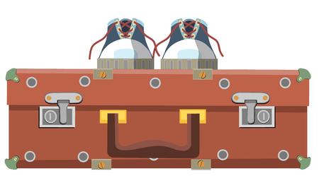 Oude koffer en schoenen voor reis, vectorillustratie