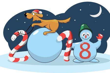 Gele hond, het symbool van het nieuwe jaar, op de Chinese kalender, vectorillustratie Stock Illustratie