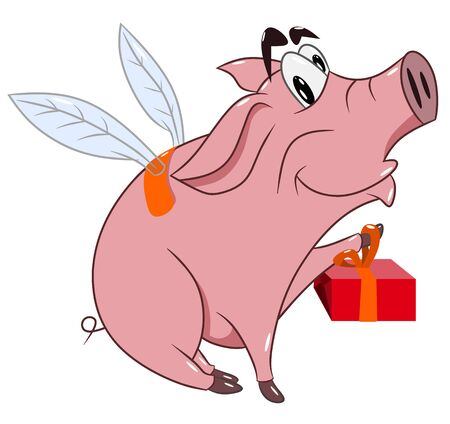 Cheerful funny pig with wings