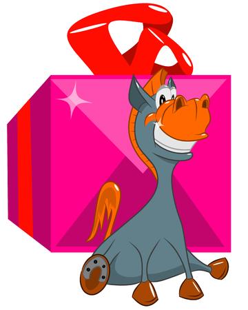Vrolijke paardzitting dichtbij een grote doos met een gift, vectorillustratie