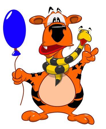 Vrolijke tijger met een slang op de hals die een luchtballon, vectorillustratie houden Stock Illustratie