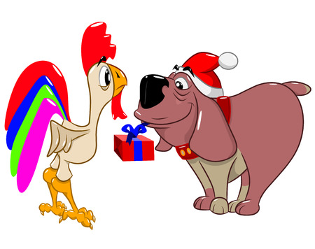 Grappige hond ?? in een kerstmuts geeft een geschenk aan een haan, vectorillustratie
