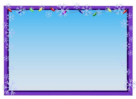 Kerstmiskader voor foto's met slinger en sneeuwvlokken, vectorillustratie