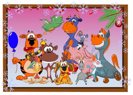 Tekening van grappige dieren op de achtergrond van de Chinese kalender, vectorillustratie.