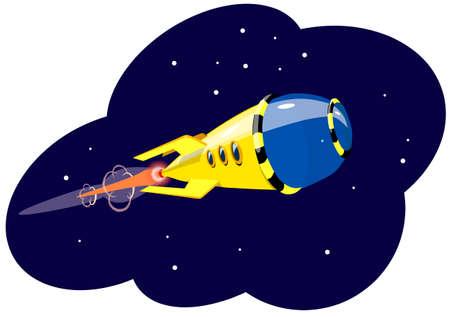 Een raket die in ruimte, tegen de achtergrond van sterren vliegt, vectorillustratie. Stock Illustratie