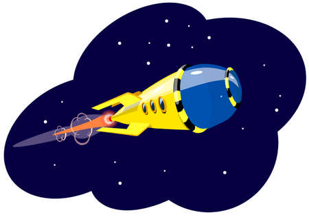 A rocket flying in space, against the background of stars, vector illustration.