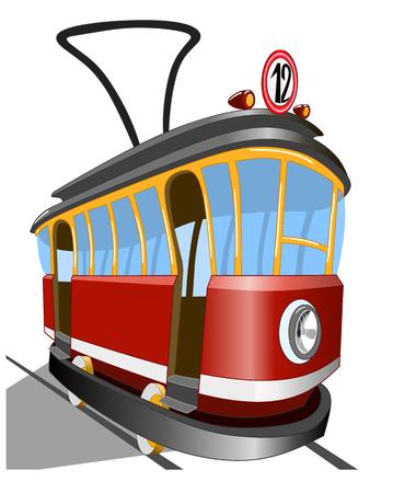 Oude tram op een witte illustratie.