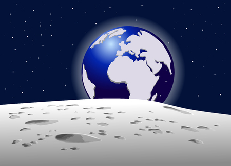 Uitzicht op de planeet aarde met maan