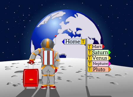 De ruimtetoerist keert naar huis naar aarde, vectorillustratie terug
