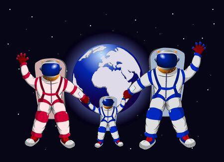Familie van drie mensen in ruimte tegen de achtergrond van aarde, vectorillustratie