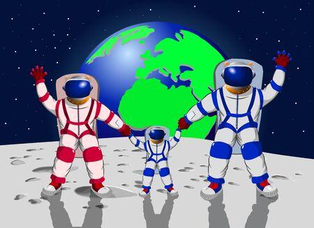 Familie van drie mensen in ruimtepakken tegen de achtergrond van een aarde, vectorillustratie Stock Illustratie