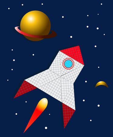 Raket gemaakt van papier vliegen in de ruimte, vector illustratie Stock Illustratie