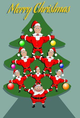 Veel kerstmannen bouwden een levende piramide in de vorm van een nieuwjaarsboom, vectorillustratie