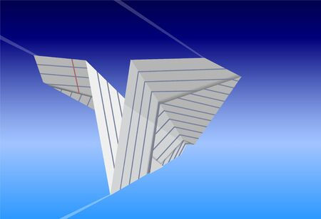 Airplane made from paper on a background of blue sky, vector illustration