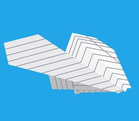 Vliegtuig gemaakt van papier op een achtergrond van blauwe hemel, vectorillustratie