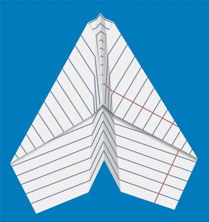 Vliegtuig gemaakt van papier op een achtergrond van blauwe hemelillustratie.