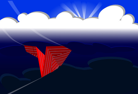 Document vliegtuig vliegt om een stormachtige hemel, concept leiding te ontmoeten, vectorillustratie