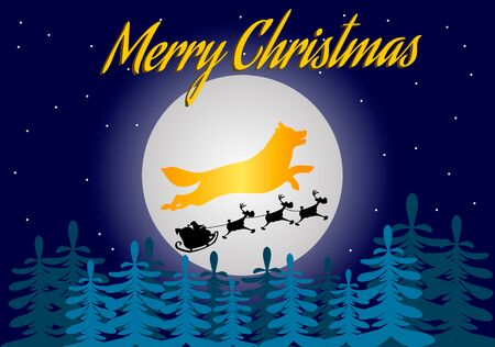 Team of Santa Claus against the background of the moon and the silhouette of a dog, vector illustration