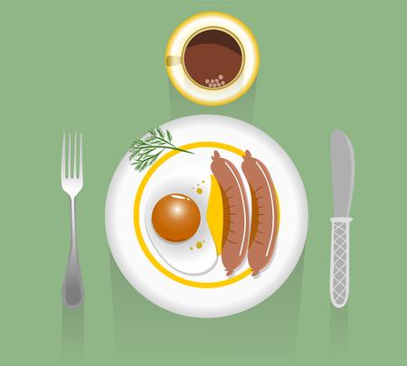 Ochtendontbijt, gebraden eieren, worsten en koffie, vectorillustratie Stock Illustratie