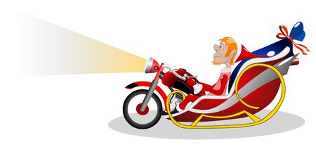 Modern Santa Claus on a sleigh in the form of a motorcycle, vector illustration. Illustration