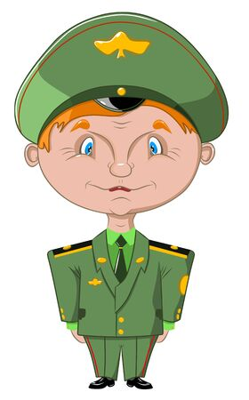 Funny positive soldier in military uniform, vector illustration