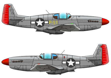 Oude militaire vliegtuigvechter op witte achtergrond, vectorillustratie