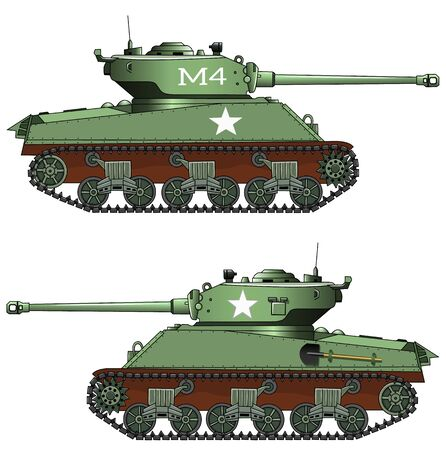 Old military tank on white background, vector illustration