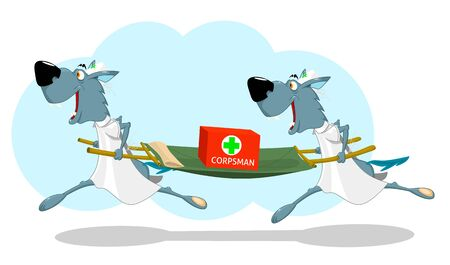 Two funny wolf nurses running with a stretcher, vector illustration.