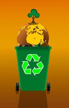 Aardebol met een groeiende boom in een vuilnisbak, concept verontreiniging, vectorillustratie.