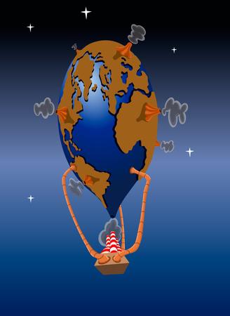 Planeet aarde in de vorm van een ballon, vectorillustratie.