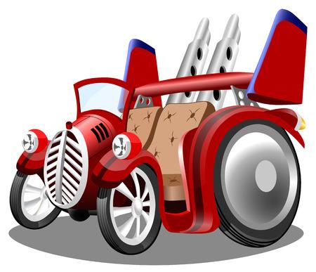 De grappige convertibele hete staaf van de beeldverhaal retro auto op witte achtergrond, vectorillustratie.