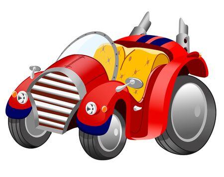 Grappige cartoon retro auto op witte achtergrond, vectorillustratie