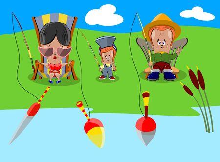 Familie van drie mensen vist in een vijver, vectorillustratie. Stock Illustratie