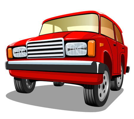 Beautiful red cartoon car on white background, vector illustration.