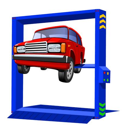 Het mooie rode personenauto hangen op een witte achtergrond, vectorillustratie.