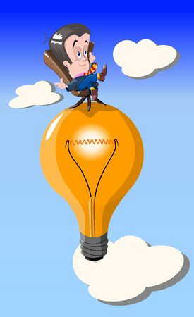 Funny man sits in a chair that stands on a light bulb, vector illustration.