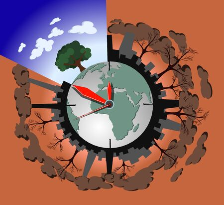 Ecology pollution concept on the planet earth, vector illustration