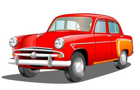 Beautiful red retro car on white background, vector illustration