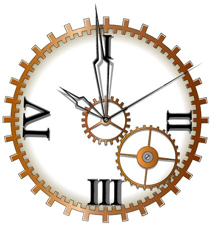 Mechanical clock with arrows on white background, vector illustration Stock Illustratie