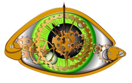 Human eyes in the form of a mechanical clock, vector illustration on a white background Stock Illustratie